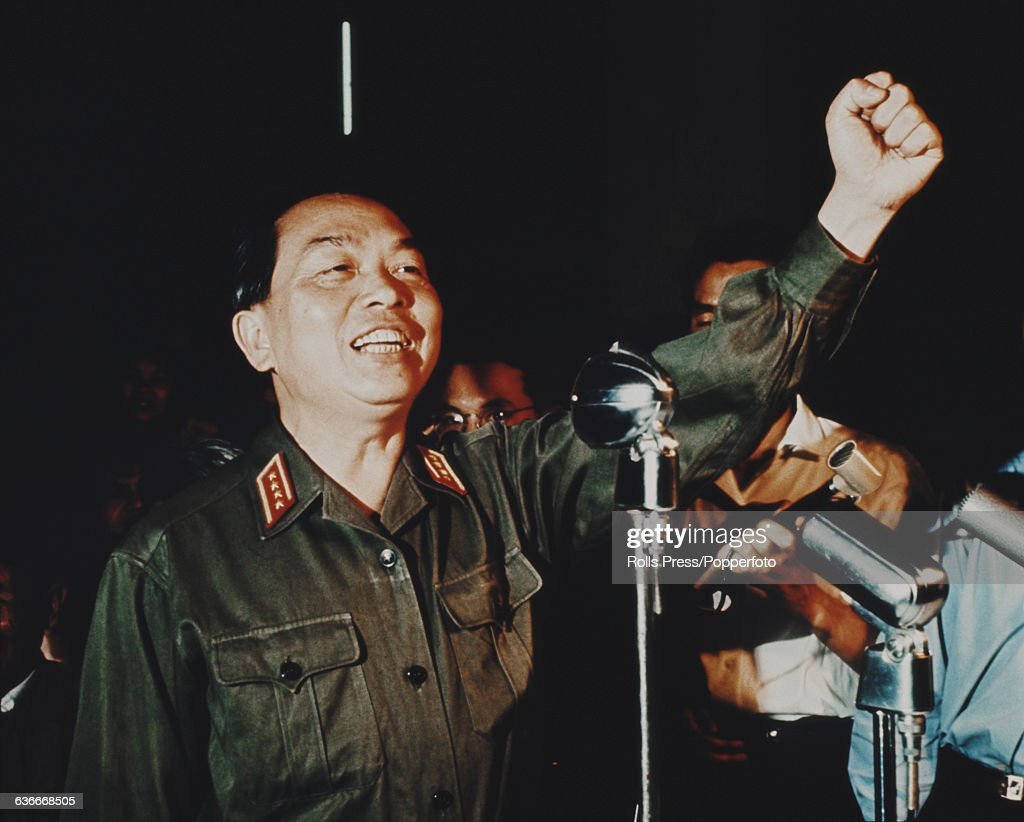 Commander in chief of the People's Army of Vietnam, Vo Nguyen Giap (1911-2013) pictured giving a raised fist salute at a press conference in North Vietnam during the Vietnam War circa 1969.