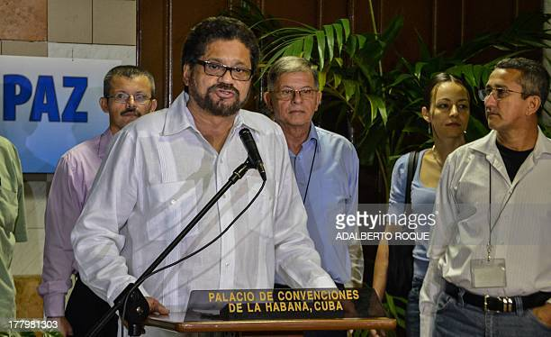 EP commander Ivan Marquez gives a speech on August 26 at Convention Palace in Havana at the relaunching of the peace talks with the Colombian...