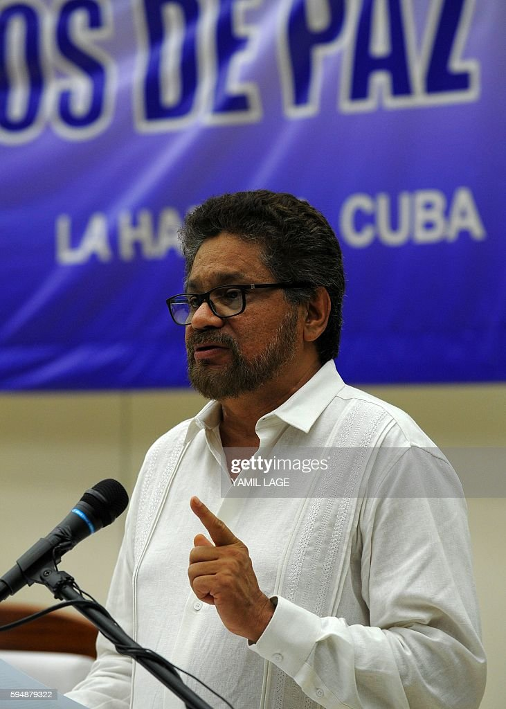 Commander Ivan Marquez speaks after the signing of the agreement with the Colombian government at the conclusion of the peace talks at the Convention...