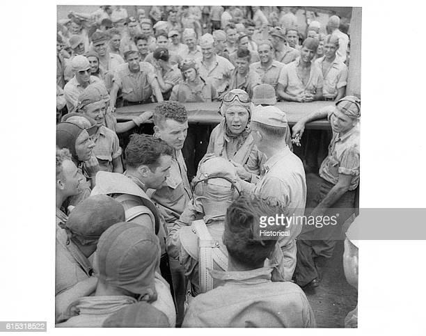 Commander Joseph Clifton on board the Saratoga describing how he shot down a Japanese plane over Rabaul