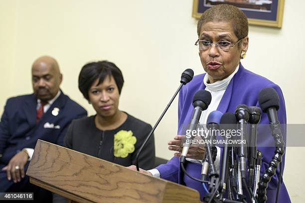 Commander Kerwin Miller Washington Mayor Muriel E Bowser listens while Delegate Eleanor Holmes Norton speaks during a press conference on Capitol...