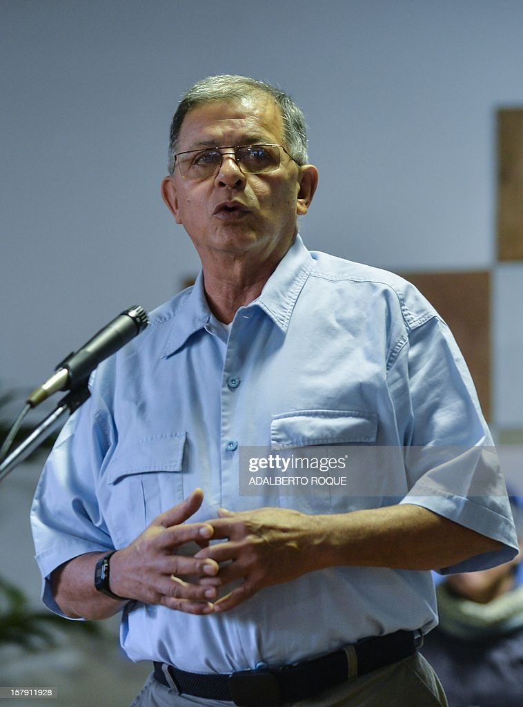 Commander of FARC-EP leftist guerrilla Rodrigo Granda answers questions to the press at Convention Palace in Havana during the peace talks with the Colombian government, on December 7, 2012.