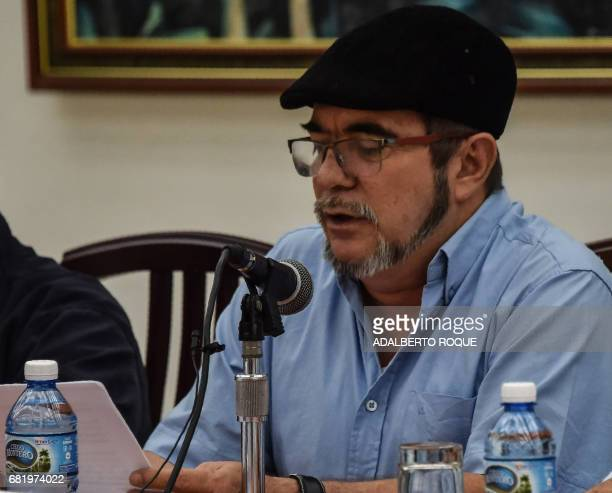Commander of FARCEP leftist guerrilla Timoleon Jimenez speaks during a joint press conference with Colombian National Liberation Army in Havana on...