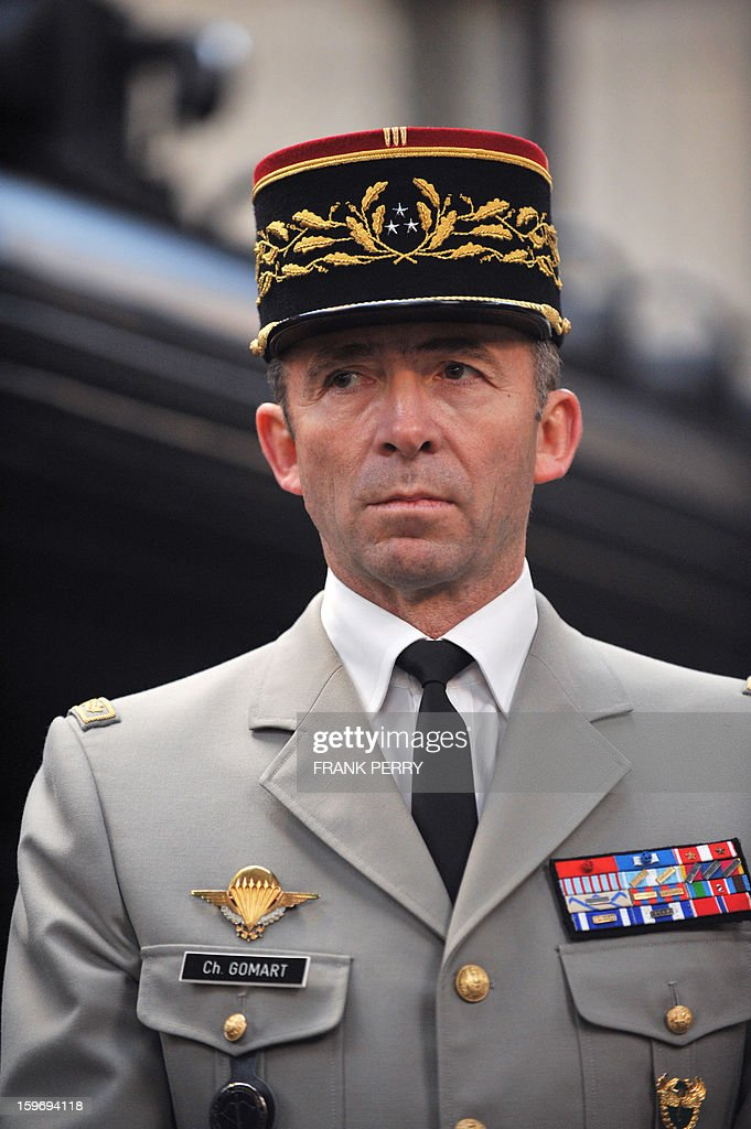 Commander of French special forces, General Christophe Gomart, is pictured during a visit of French Defence Minister to a sniper commando base on January 18, 2013 in the northwestern French town of Lanester.
