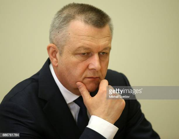 Commander of Russian Space Forces Alexandr Golovko attends the meeting with top managers of space industry sector on May 22 2017 in Sochi Russia The...