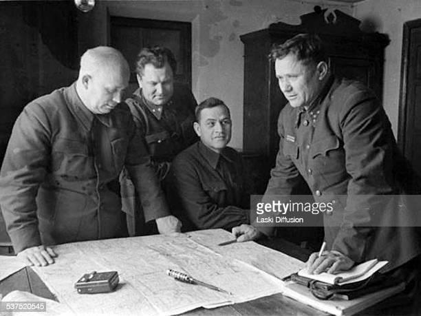Commander of Stalingrad Front Soviet general Andrey Yeryomenko and Nikita Khrushchev in 1942 in Stalingrad Russia Battle of Stalingrad one of major...