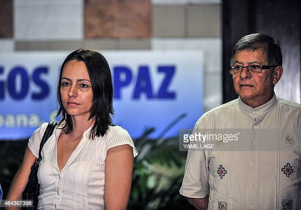 Commander of the FARC EP leftist guerrillas Rodrigo Granda and guerrilla fighter Dutch Tanja Nijmeijer arrive at Convention Palace in Havana for the...