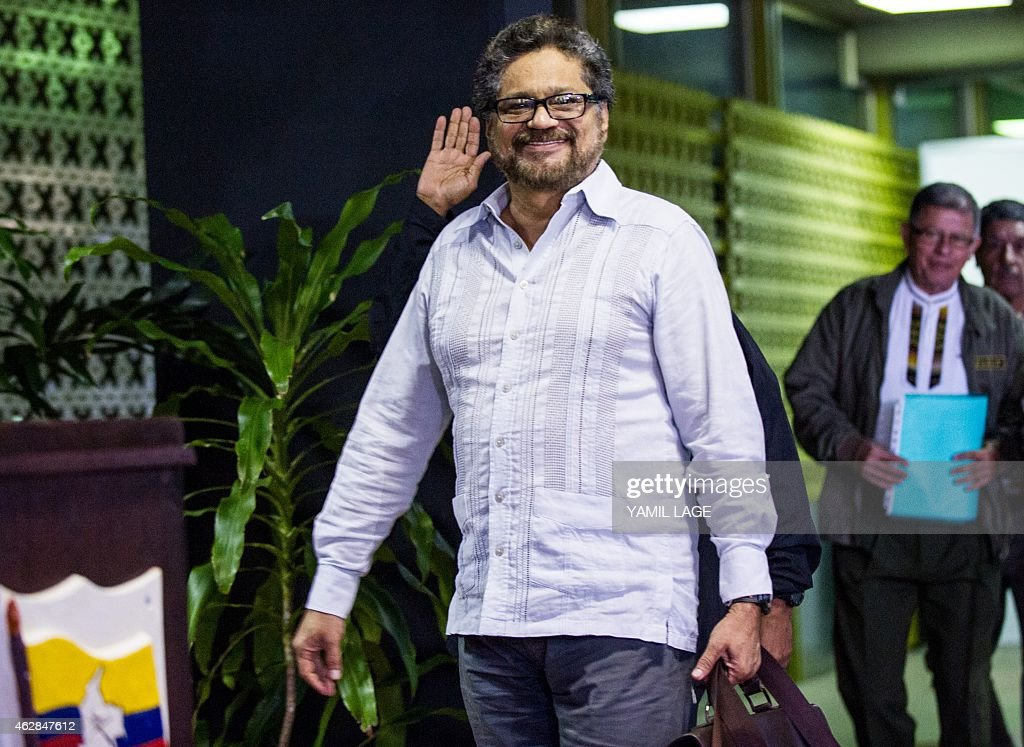 Commander of the FARC-EP leftist guerrillas <a gi-track='captionPersonalityLinkClicked' href=/galleries/search?phrase=Ivan+Marquez&family=editorial&specificpeople=3130511 ng-click='$event.stopPropagation()'>Ivan Marquez</a> arrives at the Convention Palace in Havana for peace talks with the Colombian government, on February 6, 2015. AFP PHOTO/Yamil LAGE