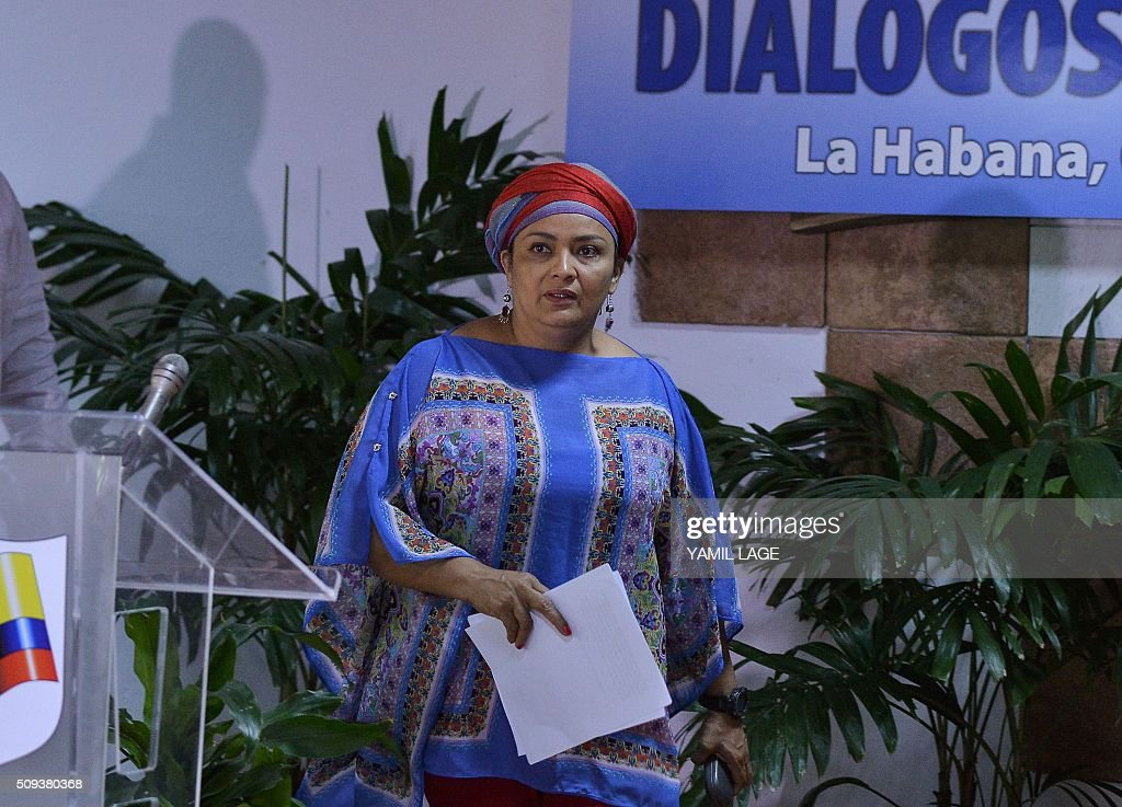 Commander of the FARC-EP leftist guerrillas Victoria Sandino arrives at Convention Palace in Havana for the peace talks with the Colombian government, on February 10, 2016. AFP PHOTO/Yamil LAGE / AFP / YAMIL LAGE