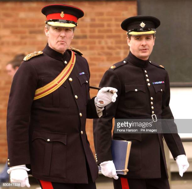 Commander of the Household Cavalry Colonel Hamon Massey and Major Andrew Chatburn of the Irish Guards during news interviews at Chelsea Barracks The...