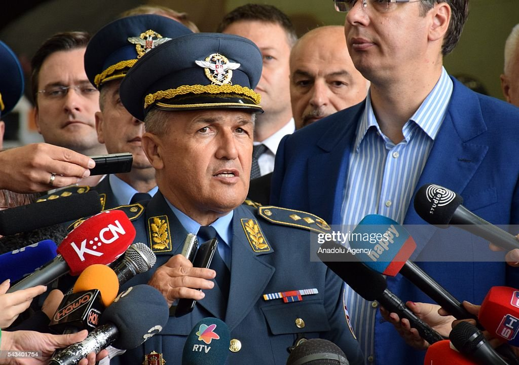 Commander of the Serbian air forces Ranko Zivak delivers a speech during the ceremony of 2 transport helicopter which Serbia bought from Russia, at Nikola Tesla Airport in Belgrade, Serbia on June 28, 2016.