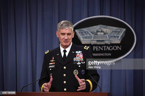 Commander of US Africa Command General David Rodriguez speaks during a news briefing on the Department of Defense's response on Ebola October 7 2014...