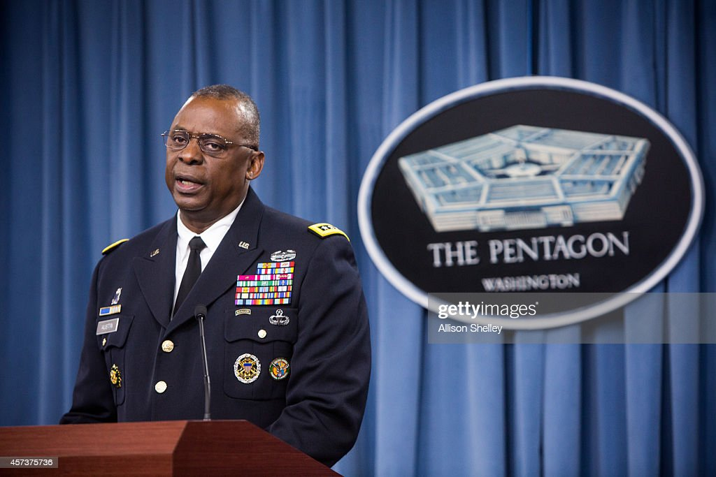 Commander of US Central Command Gen Lloyd Austin II holds a media briefing on Operation Inherent Resolve the international military effort against...