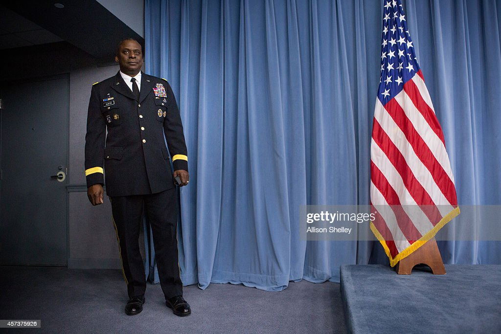 Commander of US Central Command Gen Lloyd Austin II prepares to hold a media briefing on Operation Inherent Resolve the international military effort...