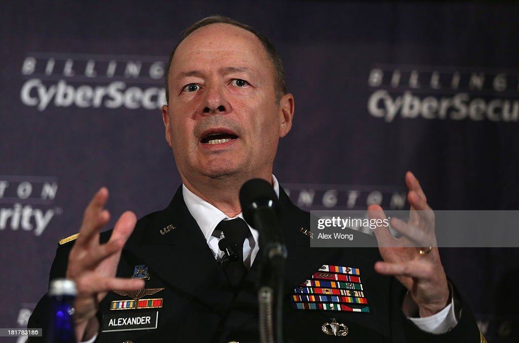 Commander of U.S. Cyber Command and director of the National Security Agency (NSA) General Keith Alexander speaks during the fourth annual Cybersecurity Summit September 25, 2013 at the National Press Club in Washington, DC. General Alexander discussed 'media leak' and defended for the NSA surveillance program on American people.