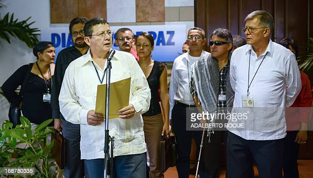Commander Pablo Catatumbo gives a speech upon arrival at the Convention Palace in Havana for a new round of talks with the Colombian government on...