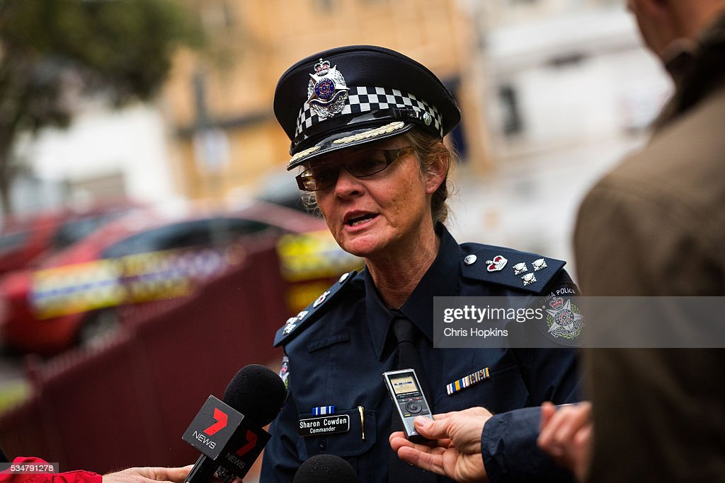 Commander Sharon Cowden, of the Victoria police speaks with the media after violence erupted when participants in a 'Say No To Racism' rally protesting the forced closure of Aboriginal communities, off-shore detention centres and Islamophobia met with a counter 'Anti-Islam rally organised by the True Blue Crew and backed by the United Patriots Front on May 28, 2016 in Melbourne, Australia.