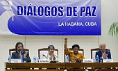 Commander Victoria Sandino gestures as she speaks during a press conference at the Convention Palace in Havana on July 24 2016 After a halfcentury of...