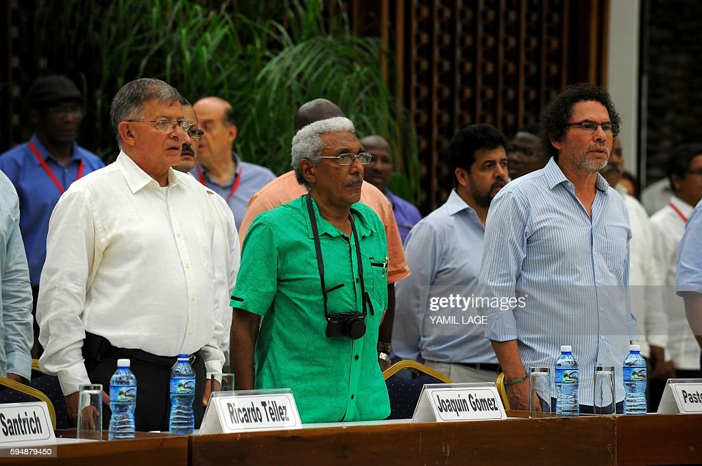FARCEP Commanders Ricardo Tellez Joaquin Gomez and Pastor Alape attend the signing of the peace agreement with the Colombian government at the...