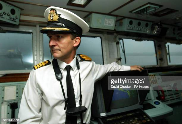 Commanding officer Captain Mike Mansergh on the bridge of the HMS Ark Royal as the ship is prepared at Rosyth dockyard ahead of its sea trials