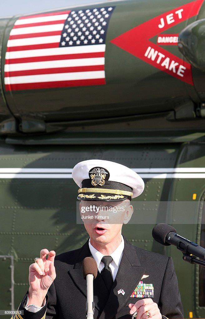 Commanding Officer Tom Burke speaks during a press conference on USS Blue Ridge at Harumi Pier on December 6, 2008 in Tokyo, Japan. The warship, which was commissioned on November 14, 1970, has been forward deployed at Yokosuka Naval Base since October 1979.