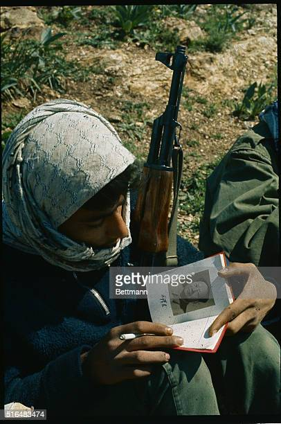 Commandos man posts at AlShouha Shamlia about two miles from the Israeli border zone One of the commandos reads the 'Thoughts of Mao TseTung' while...