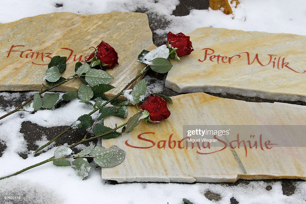 Commemoration stones with the names of the victims are pictured in front of the Albertville School on March 11, 2010 in Winnenden, Germany. Tim Kretschmer opened fire on teachers and pupils at his former school a year ago on March 11, 2009, killing 15 and leaving many more injured. Kretschmer fled the scene and shot himself dead after being cornered by police.