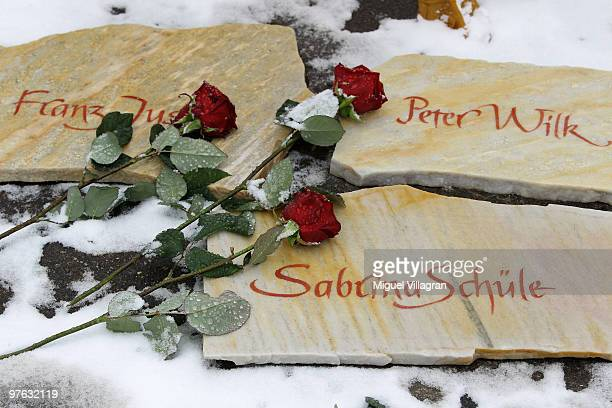 Commemoration stones with the names of the victims are pictured in front of the Albertville School on March 11 2010 in Winnenden Germany Tim...