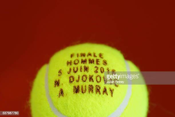 A commemorative ball is seen ahead of tomorrow's Men's Singles final between Andy Murray of Great Britain and Novak Djokovic of Serbia on day...