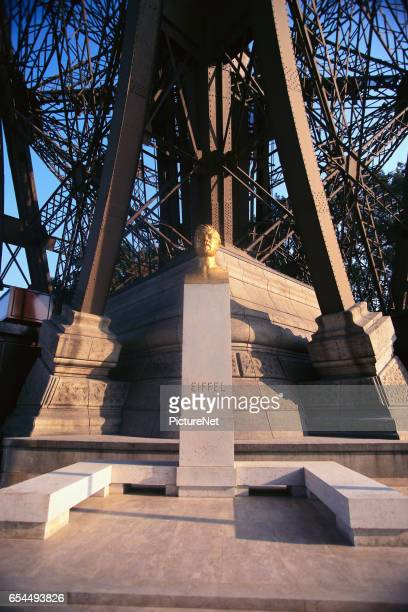 Commemorative Bust of Gustave Eiffel at Base of Tower