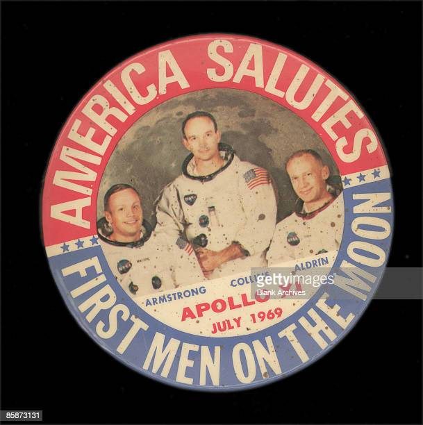 Commemorative button celebrates the Apollo 11 moon landing 1969 Pictured are the mission's crew from left Neil Armstrong Micheal Collins and Buzz...
