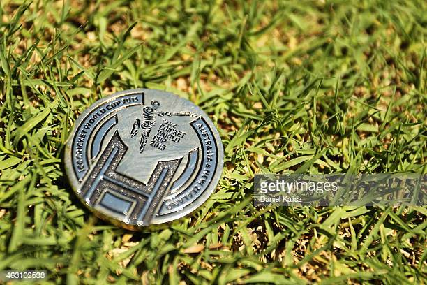 A commemorative coin used for the toss is seen prior to the start of play during the 2015 ICC Cricket World Cup warm up match between India and...