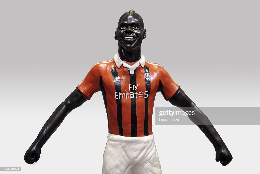 A commemorative figurine created by artisan Genny Di Virgilio depicting AC Milan football player Mario Balotelli is displayed at San Gregorio Armeno on March 14, 2013 in Naples, Italy.