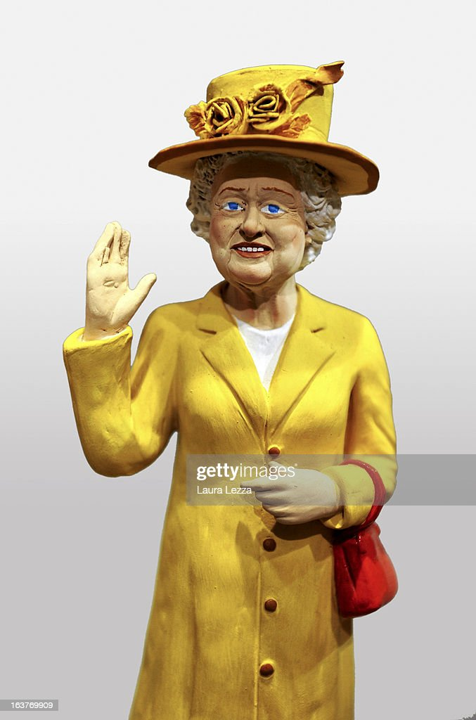 A commemorative figurine created by artisan Genny Di Virgilio depicting Queen Elizabeth II is displayed at San Gregorio Armeno on March 14, 2013 in Naples, Italy.