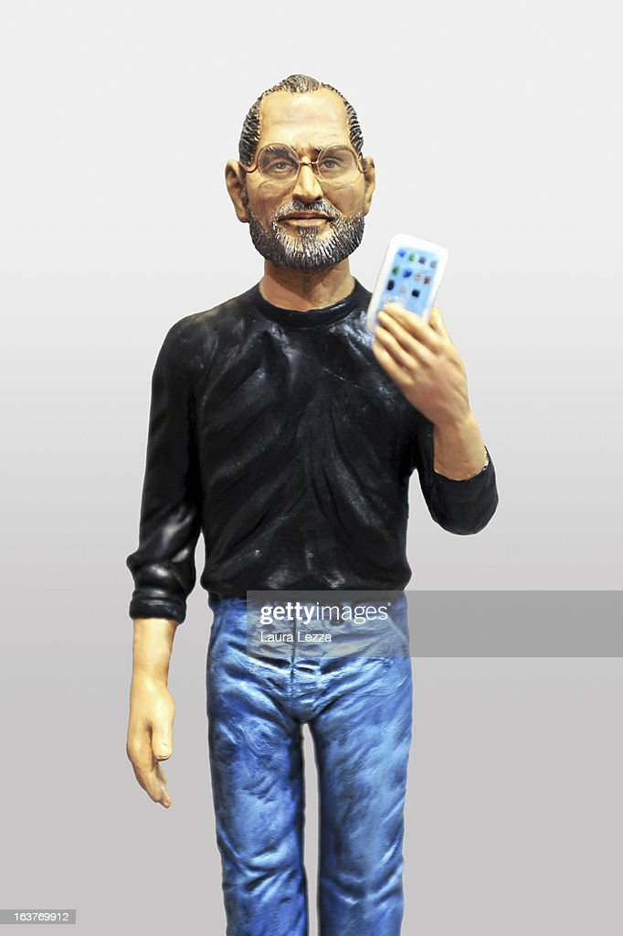 A commemorative figurine created by artisan Genny Di Virgilio depicting the late Apple boss Steve Jobs is displayed at San Gregorio Armeno on March 14, 2013 in Naples, Italy.