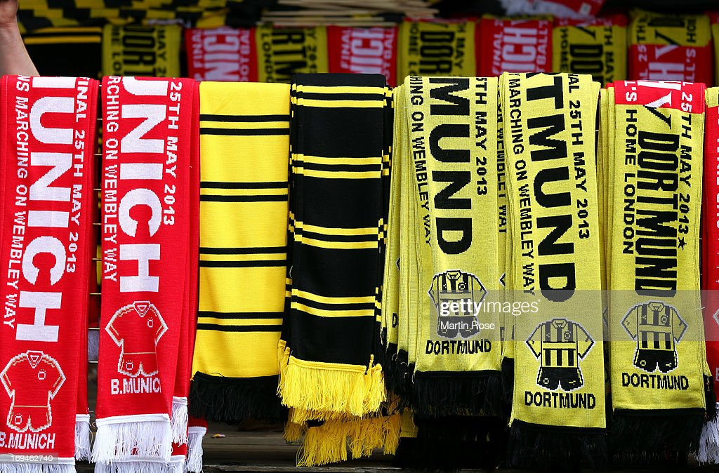 Commemorative memorabilia on sale outside Wembley Stadium ahead of the UEFA Champions League final match between Borussia Dortmund and FC Bayern Muenchen at Wembley Stadium on May 25, 2013 in London, United Kingdom.