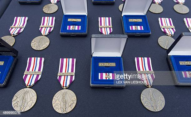 Commemorative peace operation medals awarded to soldiers of the Royal Netherlands Army for their contribution to the United Nations mission in Mali...