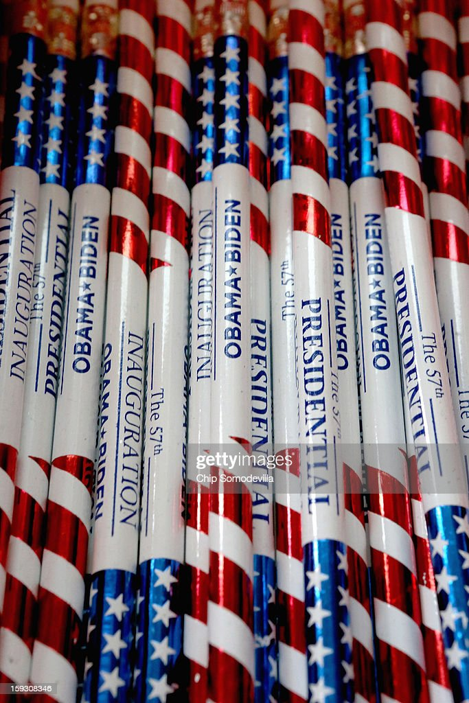 Commemorative pencils are for sale at the Presidential Inaugural Committee's store near the intersection of 11th and F Streets NW January 11, 2013 in Washington, DC. A variety of merchandise, from handbags and buttons to tube socks and limited edition coin sets, will be for sale until the January 21 inauguration of President Barack Obama.