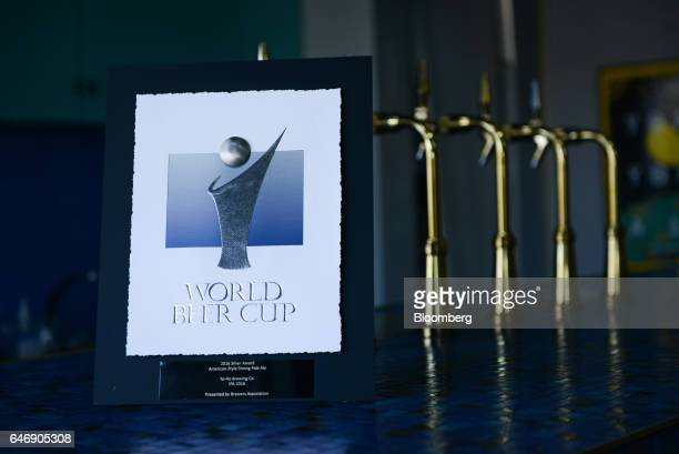 A commemorative plaque for the 2016 World Beer Cup Silver Award in American Style Strong Pale Ale is displayed at the YoHo Brewing Co brewery in Saku...
