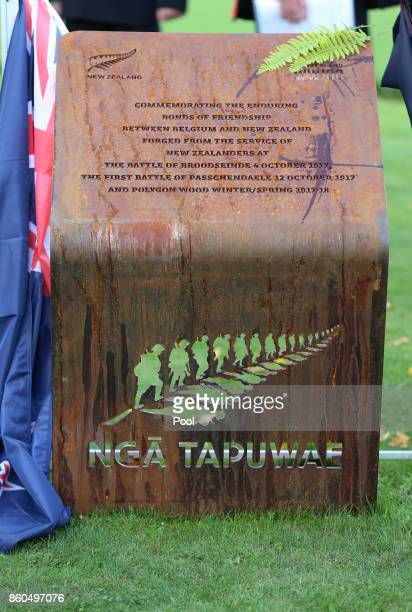 A commemorative plaque which was unveiled at the New Zealand national commemoration for the Battle of Passchendaele at Tyne Cot Cemetery on October...