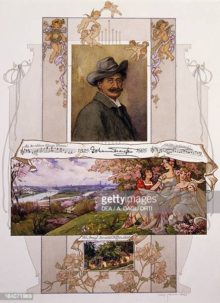 Commemorative poster for Johann Strauss with a piece of On the Beautiful Blue Danube Vienna Historisches Museum Der Stadt Wien