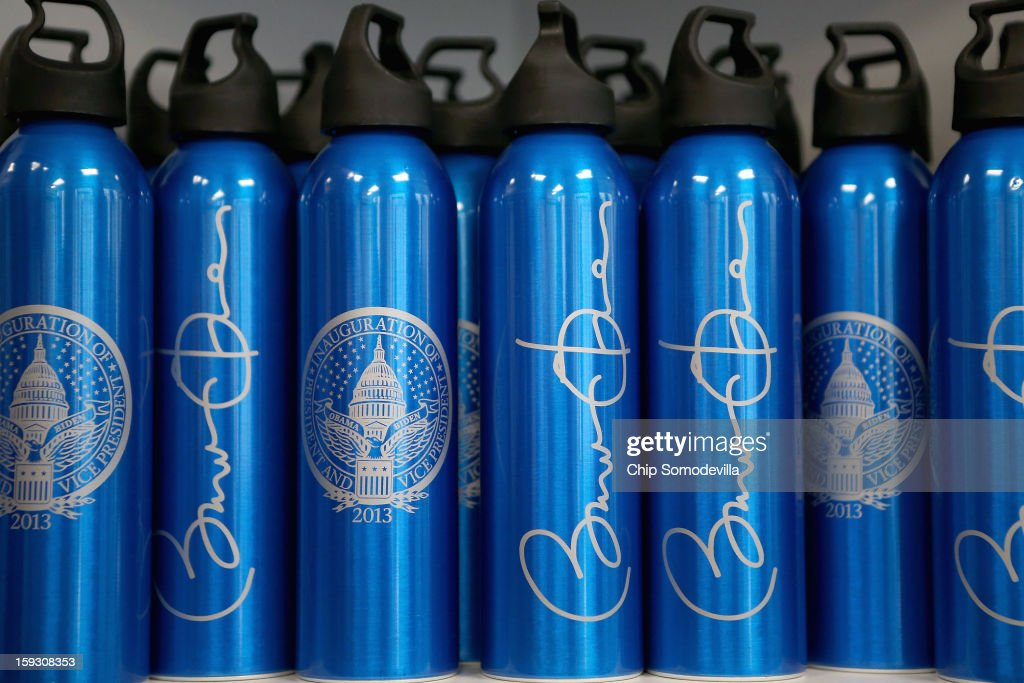 Commemorative reusable bottles are for sale at the Presidential Inaugural Committee's store near the intersection of 11th and F Streets NW January 11, 2013 in Washington, DC. A variety of merchandise, from handbags and buttons to tube socks and limited edition coin sets, will be for sale until the January 21 inauguration of President Barack Obama.
