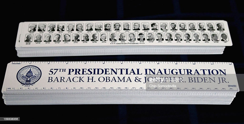 Commemorative rulers are for sale at the Presidential Inaugural Committee's store near the intersection of 11th and F Streets NW January 11, 2013 in Washington, DC. A variety of merchandise, from buttons and water bottles to tube socks and limited edition coin sets, will be for sale until the January 21 inauguration of President Barack Obama.