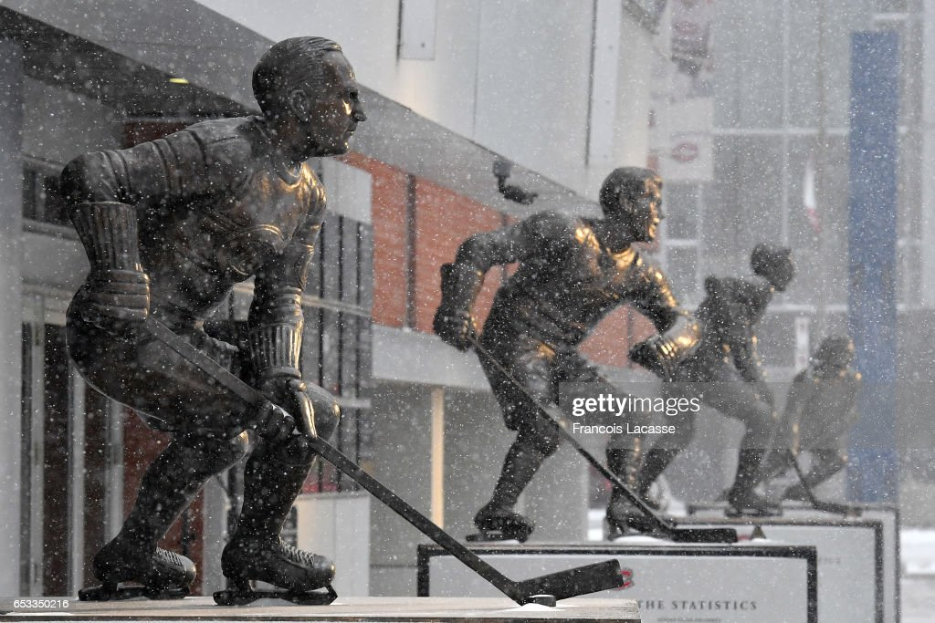 A commemorative statue of Howie Morenz stands outside the Centennial Plaza at the Bell Center prior to the NHL game between the Montreal Canadiens and the Chicago Blackhawks on March 14, 2017 in Montreal, Quebec, Canada.