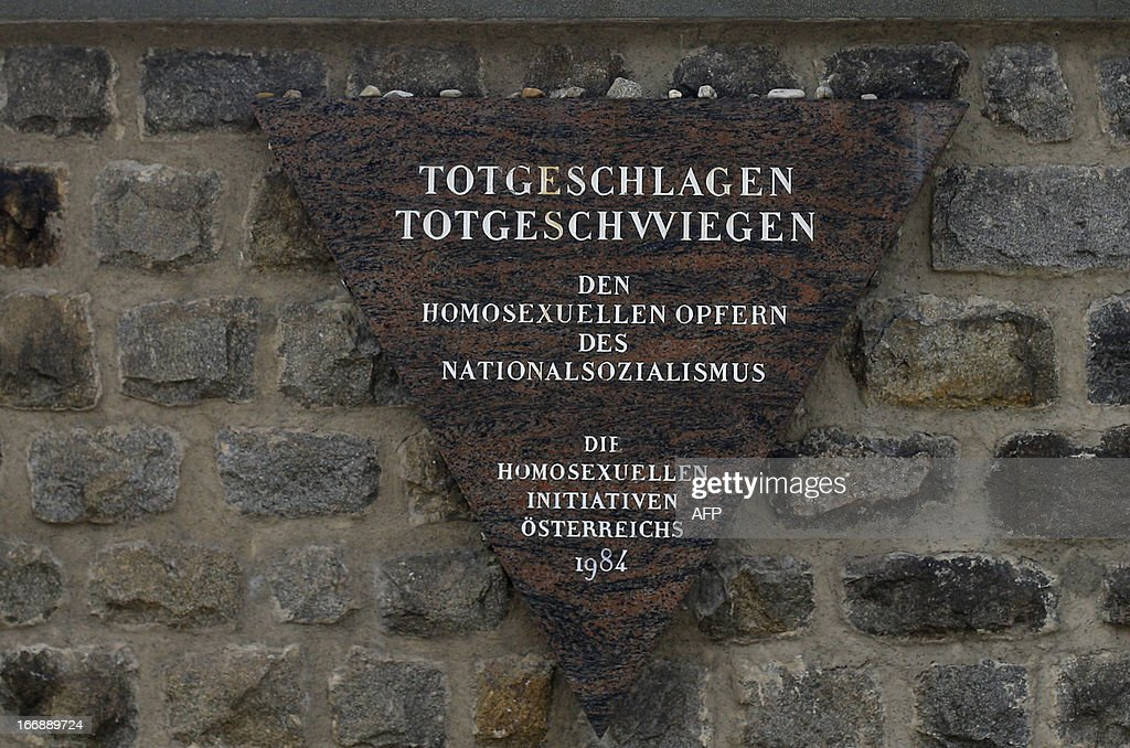 A commemorative stone is seen at World War II concentration camp of Mauthausen, on April 17, 2013.