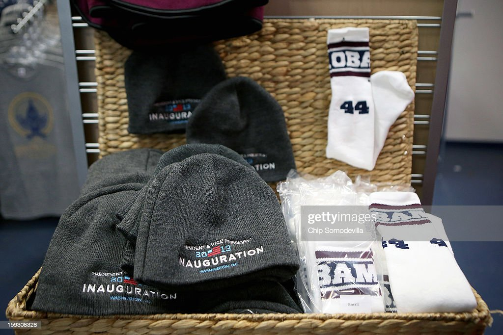 Commemorative winter hats and tube sock sets are for sale at the Presidential Inaugural Committee's store near the intersection of 11th and F Streets NW January 11, 2013 in Washington, DC. A variety of merchandise, from handbags and pencils to throw rugs and limited edition coin sets, will be for sale until the January 21 inauguration of President Barack Obama.