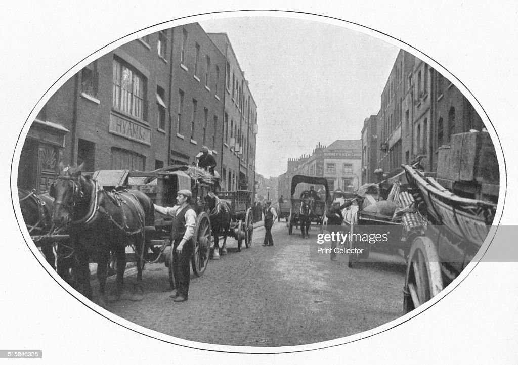 Commencing work Osborn Street Whitechapel London circa 1903 From Living London Vol III by George R Sims [Cassell and Company Limited London Paris New...
