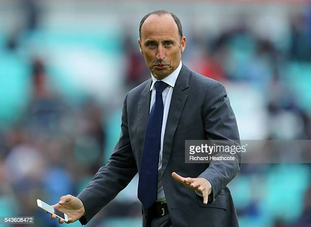 TV commentator and former England captain Nasser Hussein looks on in the rain delay during the 4th Royal London ODI between England and Sri Lanka at...