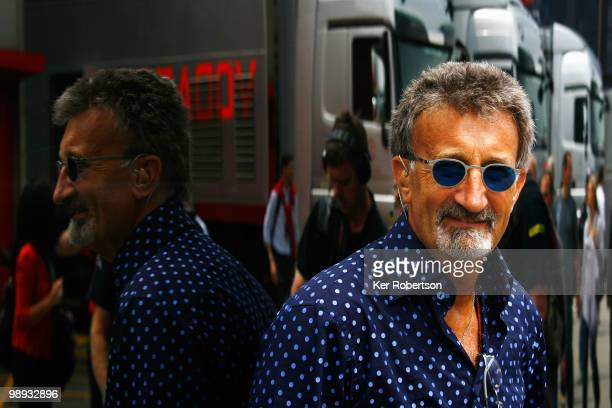 BBC commentator and former F1 team boss Eddie Jordan is seen in the paddock before the Spanish Formula One Grand Prix at the Circuit de Catalunya on...