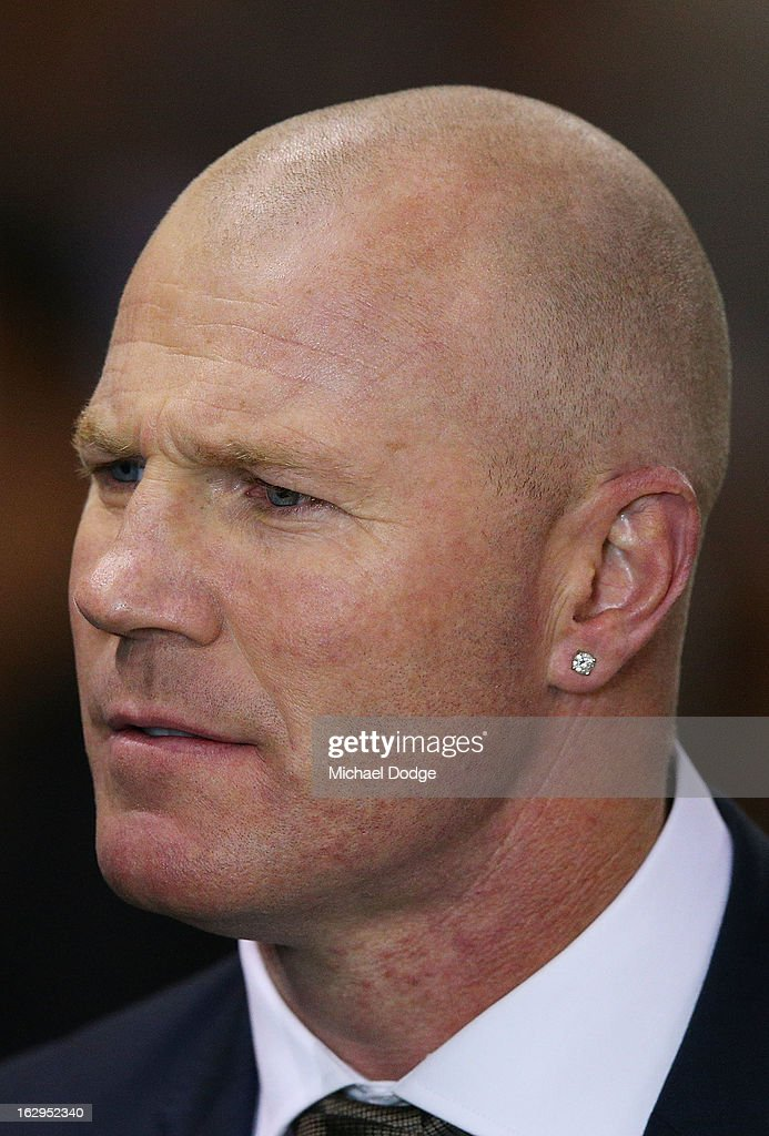 Commentator <a gi-track='captionPersonalityLinkClicked' href=/galleries/search?phrase=Barry+Hall&family=editorial&specificpeople=178244 ng-click='$event.stopPropagation()'>Barry Hall</a> looks ahead during the round two AFL NAB Cup match between the Carlton Blues and the Fremantle Dockers at Etihad Stadium on March 2, 2013 in Melbourne, Australia.